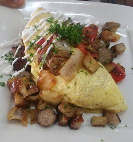 omelet with herbs and meat